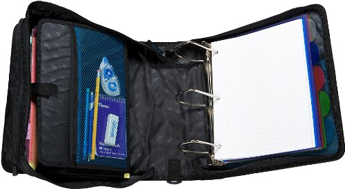 Case it king sized zip tab 4 inch d ring zipper binder with 5 tab file
