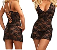Hot Sexy Womens Lingerie Underwear Babydoll Dress Ladies Transparent Embroidered Lace Fishnet Bodystockings Sleepwear Black