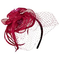 Sinamay Tear Drop Cocktail Hat - Fuchsia OSFM