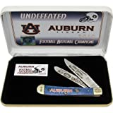 Frost Cutlery & Knives SETAUNC102 Auburn Tigers 2010 Football National Champions Commemorative Trapper Knife with Blue Smooth Bone Handles