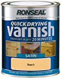 Ronseal QDVSB250 250ml Quick Dry Varnish Coloured Satin - Beech