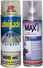 Premium Spray Set para BMW Negro II Código de Colores 668 Bj. 1989 - 2013 Uni barniz Bote de Spray de * 2 Spray en Juego - Una lata Spray 400 ml de capa de base y una lata 2 K barniz brillante 400 ml.