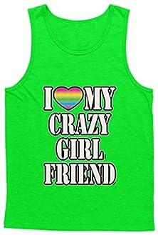 buy Blittzen Mens Tank I Love My Crazy Girlfriend-Neon Heart, L, Lime Green