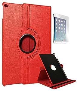 NC Premium Full 360 Rotating Smart Flip Cover Book Case for Apple iPad Air 2 (Red) + Screen Guard