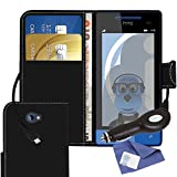 ITALKonline HTC Windows Phone 8X Black PU Leather Executive Multi-Function Wallet Case Cover Organiser Flip with Credit / Business Card Money Holder, LCD Screen Protector and 1000 mAh Coiled In Car Charger LED Indicator and Overload Protection