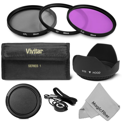 58MM Professional Lens Filter Accessory Kit for CANON EOS Rebel T5i T4i T3i T3 T2i T1i XT XTi XSi SL1 DSLR Cameras  Includes Vivitar Filter Kit (UV, CPL, FLD)   Carry Pouch   Tulip Lens Hood   SnapOn Lens Cap w/ Cap Keeper Leash   MagicFiber Microfiber Le Picture