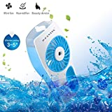 D-FantiX Handheld Water Misting Fan Portable Mini Fan Water Spray Fan with Cooling Mist Humidifier Battery / USB Operated Fan for Beauty, Home, Office and Travel (Blue)