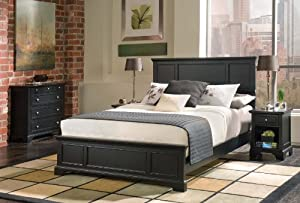 Home Styles 5531-5014 Bedford Queen Bed, Nightstand and Chest, Black Ebony Finish