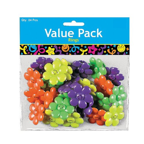 Smiley Face Daisy Rings (24-pack)