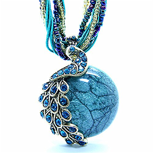 "Bohemia Cats Eys opal National Personality Peacock Pendant Necklace for Woman Fashion Jewelry ""18"""