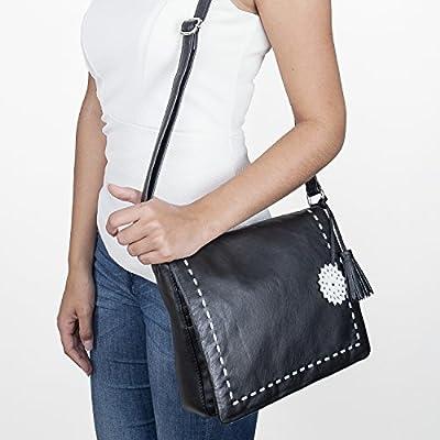 BACCINI sac bandoulière femme CAPRI - - sac en cuir avec bretelle - sacoche noir en cuir véritable
