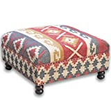 Homescapes Upholstered Ottoman Pouffe End Table or Footstool with Legs Kilim Multi Handmade Solid Wood Frame with Traditional Hand woven Wool Rug Cover