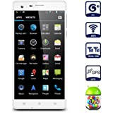 """NUOVO CUBOT S222 Con gyroscope Quad Core 5.5"""" 16G 13.0MP Smartphone cellulare Android Dual SIM HD IPS 3G GPS WIFI ,Bianco"""