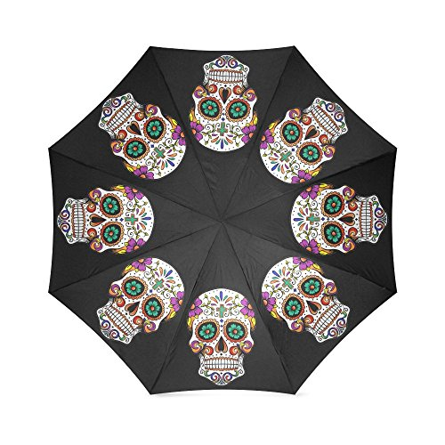 Beautiful Sugar Skull On Black Background Folding Rain Umbrella/Parasol/Sun Umbrella