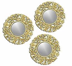 Golden Trestle Wooden wall Jharoka Mirror - set of 3