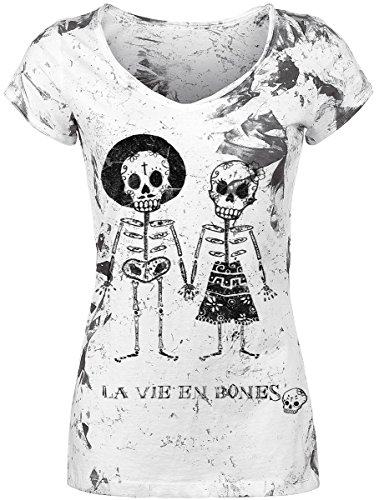 Outer Vision Skeleton Lovers Maglia donna bianco M