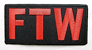 FTW F*ck the World Funny Embroidered Motorcycle Mc Club Patch Embroidered Iron on Hat Jacket Hoodie Backpack Ideal for Gift/8.3cm(w) X 4cm(h)