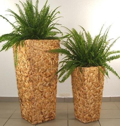 """Blumenkübel Pflanzkübel Pflanzgefäße Übertöpfe Blumentöpfe aus Wasserhyazinthe 77/51 cm hoch, """"Wild Design"""" natur"""