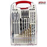 Apollo 40 Piece Mixed Drill Bit Set - Suitable for Metal, Wood, Plastic & Concrete. Contains Titanium Coated High Speed Bits for Longer Bit Life all in Compact Storage Box