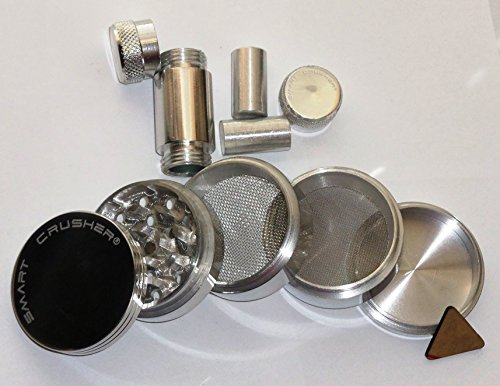Review Of SMART CRUSHER 5 Piece Coffee Herb Pollen Grinder/ Cnc Pollen Press Combo
