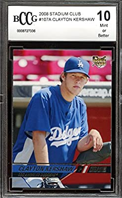 2008 stadium club #107a CLAYTON KERSHAW los angeles dodgers rookie BGS BCCG 10 Graded Card