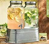 Twin Ice Cold Beverage Dispensers On Galvanized Stand / Bucked 1.5 Gallon Each Jug