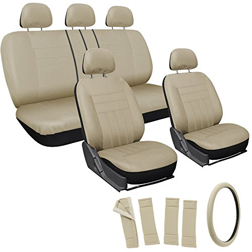Oxgord 17pc Set Flat Cloth Mesh / Solid Tan / Beige Auto Seat Covers Set - Airbag Compatible - Front Low Back Buckets - 50/50 or 60/40 Rear Split Bench - 5 Head Rests - Universal Fit for Car, Truck, Suv, or Van - FREE Steering Wheel Cover (60 40 Bucket Seat Covers compare prices)