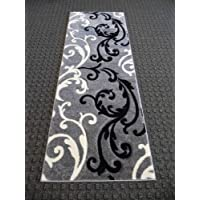 Modern Area Runner Rug 31 In. X 7 Ft. Hollywood 290 Grey