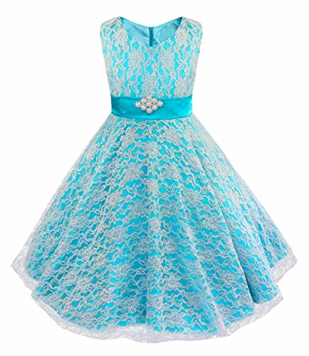 IEFiEL Kids Big Girls V-Neck Lace Flower Dress Graduation Pageant Ball Gown Blue 14