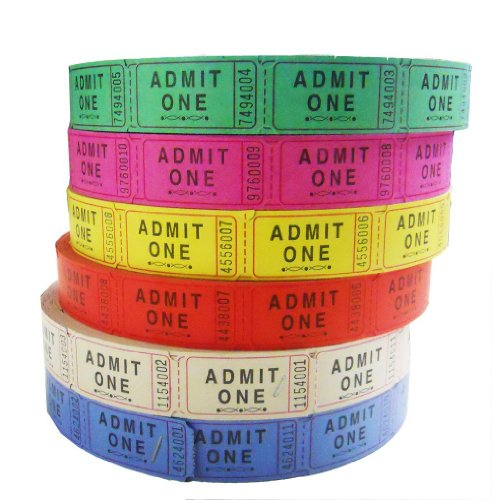 Admit One Single Ticket Roll, Assorted Colors, 4 Rolls/Pack GEN22410 (Admit One Ticket Roll compare prices)