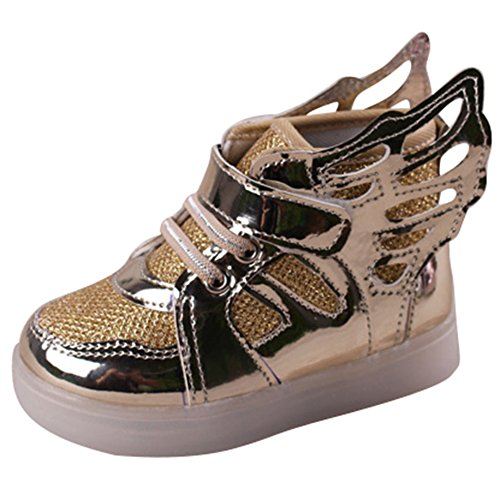 hibote Le ragazze dei ragazzi della luce Scarpe Prewalker Angelo Ala Solf Sneakers Gold EU 28