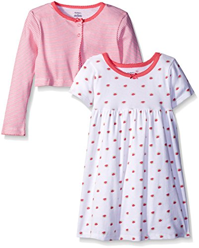Gerber Toddler Girls Two-Piece Cardigan and Dress Set, Watermelon, 4T