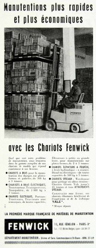 1958 Ad Chariots Fenwick Forklift Pallet French Warehouse Machinery Electric - Original Print Ad