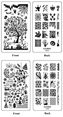Ejiubas Double-sided New Design Nail Art Stamping Kit Image Plates Holiday Set Christmas Halloween Stamping Plate Collection