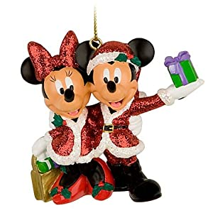 #!Cheap Santa Mickey and Minnie Mouse Christmas Ornament **Disney Theme Park EXCLUSIVE**