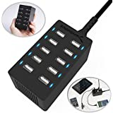 Sabrent AX-TPCS Desktop Smart USB Charger for Smartphones and Tablets, 10 Port (12 Amp) Black