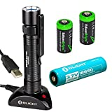 Olight S20R Baton rechargeable XM-L2 550 Lumens LED Flashlight with type 18650 Li-ion battery, charging base with two EdisonBright CR123A Lithium back-up batteries