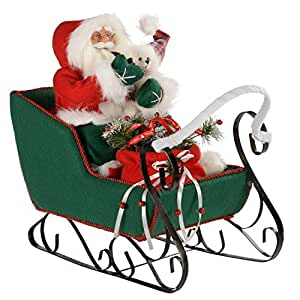 werchristmas 60 cm santa sleigh in a outfit decoration. Black Bedroom Furniture Sets. Home Design Ideas