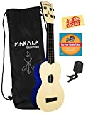 Kala MK-SWS Makala Waterman Soprano Ukulele Bundle with Gig Bag, Clip-On Tuner, Austin Bazaar Instructional DVD, and Polishing Cloth - Swirl Blue