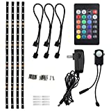 TORCHSTAR LED Multi-color RGB Home Theater TV Backlight Kit, 4pcs of ETL listed LED Waterproof Strip Lights for Monitor, Screen, Background Accent lighting with UL adapter, 24-key Remote and Connectors