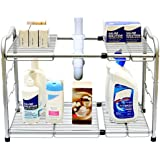 DecoBros Under Sink 2 Tier Expandable Organizer, Silver
