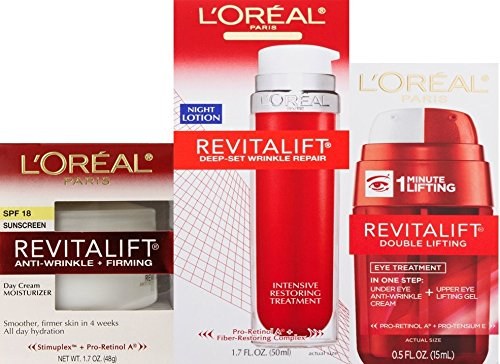 Loreal Revitalift Anti-wrinkle + Firming Day Cream; Double Eye Lift and Deep-set Wrinkle Repair Night Lotion (Advanced Revitalift Eye Cream compare prices)