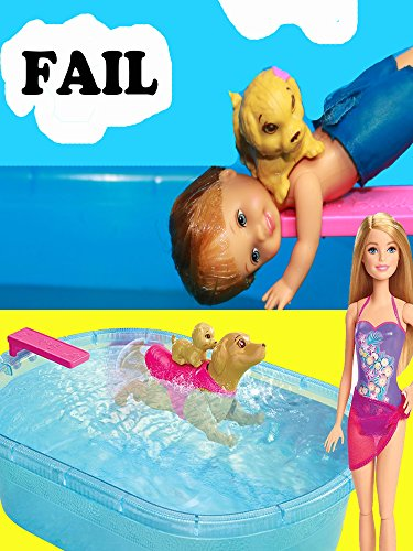 Barbie Pup Pool and Diving Board Set ~ Disney Frozen Kids ~ Toby & Chelsea Date ~ Toby Diving tricks