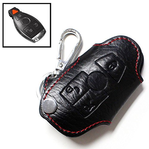 iJDMTOY Genuine Leather Remote Smart Key Fob Case Holder Cover For Mercedes-Benz C E S CLA CLS ML GL GLK CLK SLK Class, etc (Remote Key Cover compare prices)