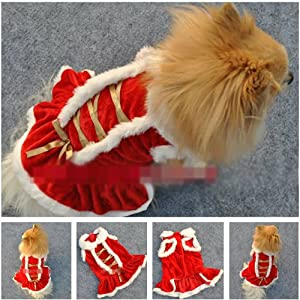 ChineOn Cute Bowknot Christmas Puppy Doggie Apparel Clothes Hoodies Sweater Skirt Dress(Size: S) by ChineOn