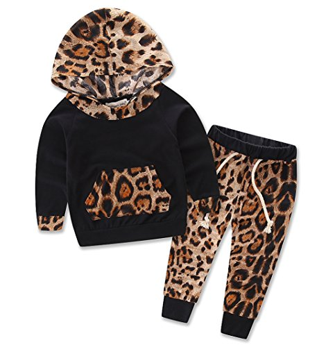 Baby Girls Floral Fleece Hoodie+ Floral Pant Leggings 2 Piece Outfits Set (18-24M, Leopard)