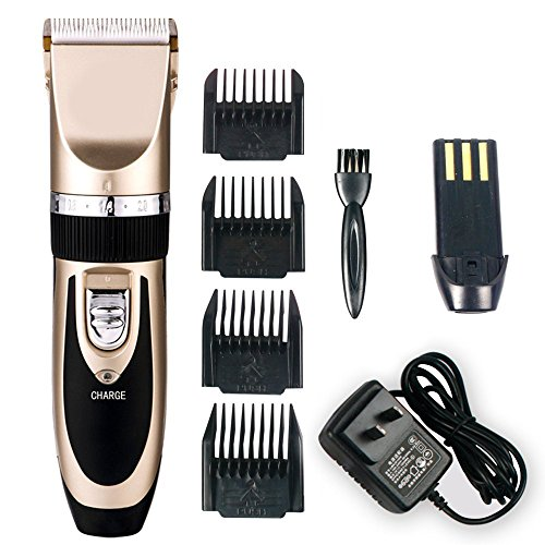 Jack & Rose Professional Hair Cutting Kit Rechargeable Hair Clipper and Trimmer 7 Attechments Haircut Tools for Family Using, Golden