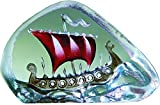Paperweight, Viking Ship - miniature, red, crystal, handmade