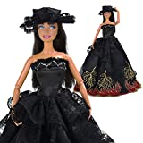 Yiding Handmade Black Wedding Party Dress Gown Clothes With Hat For Barbie Doll