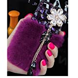 EVTECH(TM) 3D Handmade Fashion Crystal Rhinestone Bling Case Cover Hard Case Clear(100% Handcrafted)-Purple Warm Fur (iphone 6 5.5)